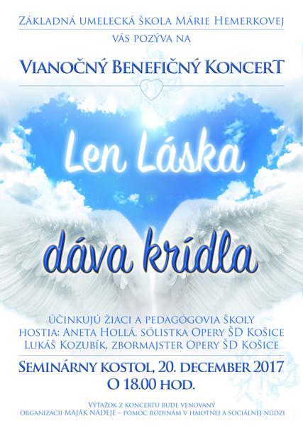 Plagát k benefičnému koncertu Len láska dáva krídla